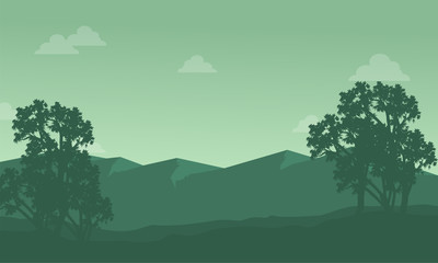 Silhouette of mountain with tree scenery