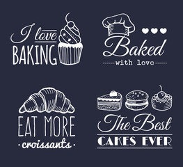 Vector set of vintage bakery logos. Retro labels collection with sweet cookie, biscuit bread etc. Hipster pastry icons.