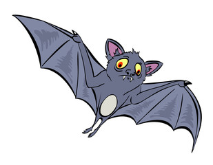 Cartoon image of halloween bat. An artistic freehand picture.