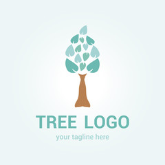 Vector image of a tree with leaves of green color.