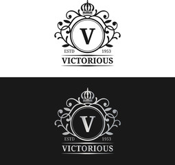 Vector monogram logo template. Luxury letter design. Graceful vintage character with crown and lions illustration.