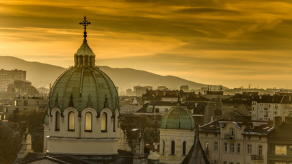 Beautiful sunset over Temple St. St. Cyril and Methodius against the backdrop of Vitosha Mountain in Sofia. Bulgaria Wall mural