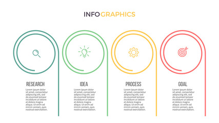Business infographics. Presentation slide with 4 steps, options. Vector template.
