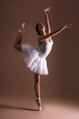 young beautiful woman ballet dancer in tutu posing on toes over beige