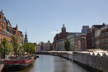 A view over Singel canal in Amsterdam, near the flower market