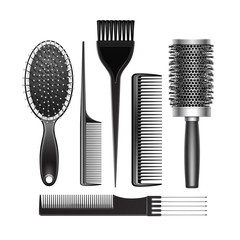 Vector Set of Black Plastic Grooming and Hot Curling Radial Pocket Hair Coloring Brush Comb Professional Hairdresser Tools Top View Isolated on White Background