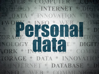 Data concept: Personal Data on Digital Data Paper background