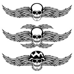 Skull with wings.