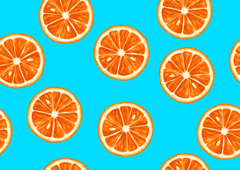 Seamless pattern with tropical citrus fruits sliced. Decorative ornament