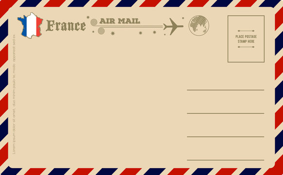 Vintage postcard with map of France