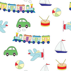 Seamless pattern with toys for the boy. A vector picture with plane, a drum, train, the car.