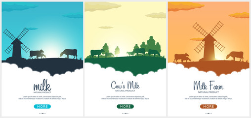 Set of Poster Milk natural product. Rural landscape with mill and cows. Dawn in the village.