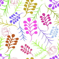 декоративный цветочный растительный узор бесшовный  веточки бабочки
