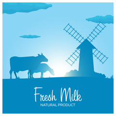 Fresh Milk natural product. Rural landscape with mill and cows. Dawn in the village.
