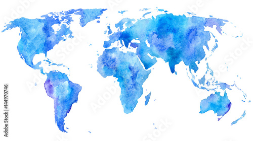 World map.Earth.Watercolor hand drawn illustration.White background ...