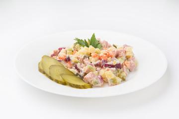 Olivier Salad with cornichons