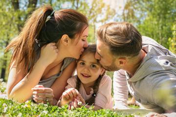 Happy family outdoor.