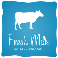 Fresh Milk natural product. Banner with cow. Vector illustration.