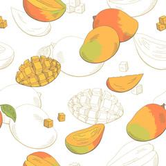 Mango fruit graphic color seamless pattern sketch illustration vector