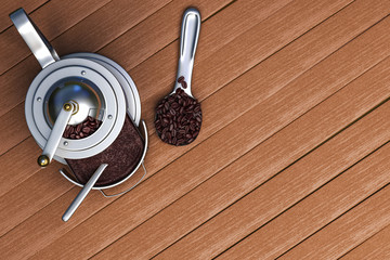 3D rendering top view of the vintage coffee grinder with coffee beans on a spoon with a wooden top background.