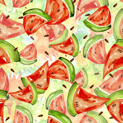 Seamless watercolor pattern with a slice of bright red fruit  watermelon, bones, splash of color, beautiful vintage background. For a diverse design.