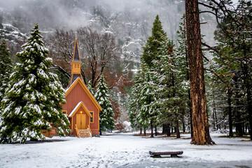 Yosemite Valley Chapel at winter - Yosemite National Park, California, USA Wall mural