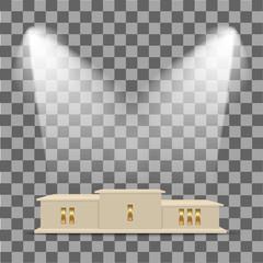 Podium for winner illuminated spotlights. Vector Image.