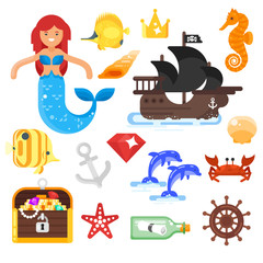 Vector flat style set of sea life icons.
