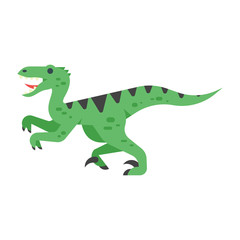 Vector flat style illustration of prehistoric animal - Velociraptor.