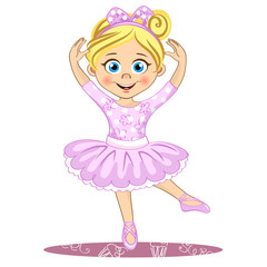 Pretty little ballerina. Cute vector girl in pointe.