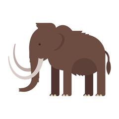 Vector flat style illustration of prehistoric animal - mammoth.