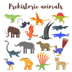 Vector flat style set of colorful prehistoric dinosaurs and animals.