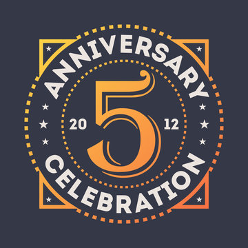 Anniversary celebration, 5 years label isolated vector illustration. Birthday party logo, holiday festive celebration emblem with number years jubilee.