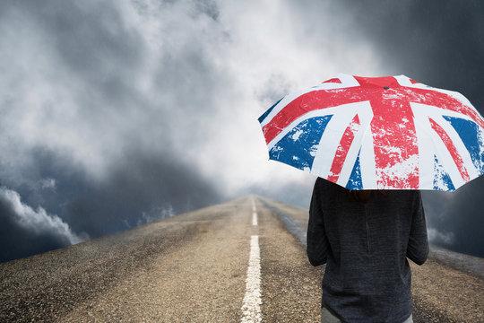 angleterre pluie climat météo royaume uni parapluie grande bretagne drapeau symbole légende mauvais temps route avenir brexit politique chemin