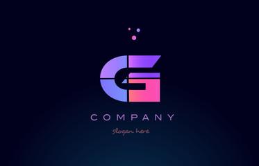 g creative blue pink purple alphabet letter logo icon design