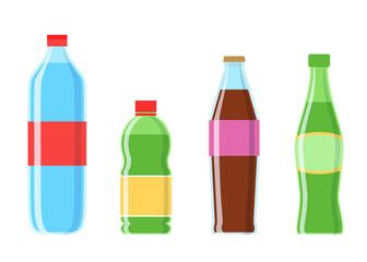 Cola plastic bottle set vector illustration isolated on white background. Cold drink, soda beverage, vending machine menu pictogram.