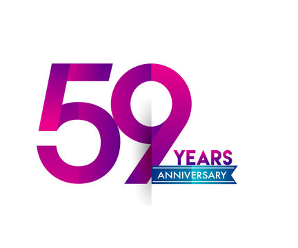 fifty nine years anniversary celebration logotype colorful design with blue ribbon, 59th birthday logo on white background