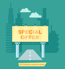 Outdoor road advertisement poster vector illustration. Urban advertising, road billboard, blank light board for message in flat design.