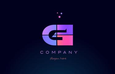 gi g i creative blue pink purple alphabet letter logo icon design