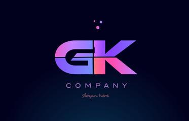 gk g k creative blue pink purple alphabet letter logo icon design