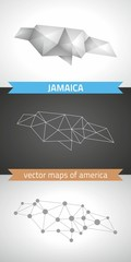 Jamaica set of grey and silver mosaic 3d polygonal maps. Graphic vector triangle geometry outline shadow perspective maps
