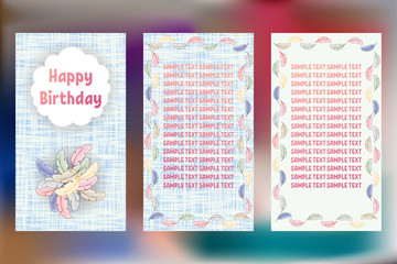 Happy Birthday pastels greeting cards. Three different vector patterns. Card in shades of blue with colorful feathers of a bird.