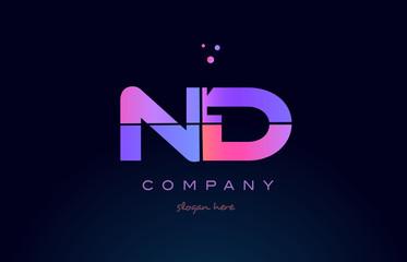 nd n d creative blue pink purple alphabet letter logo icon design