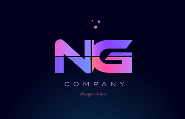 ng n g creative blue pink purple alphabet letter logo icon design