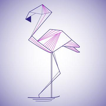 Flamingo isolated on gray background.