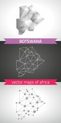 Botswana collection of vector design modern maps, gray and black and silver dot contour mosaic 3d map