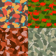 Set of USA shape camo seamless pattern. Colorful America urban camouflage. Vector fabric textile print design