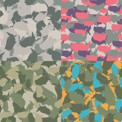 Colorful America urban camouflage. Set of USA shape camo seamless pattern. Vector fabric textile. Military print design