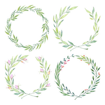 Hand drawn watercolor illustrations. Laurel Wreaths. Floral design elements. Perfect for wedding invitations, greeting cards, blogs, logos, prints and more