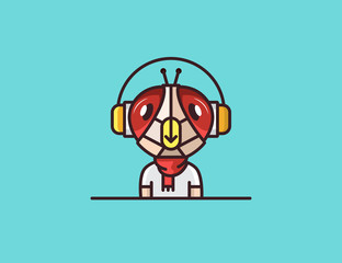 Insect mascot. Fly. Headphones character